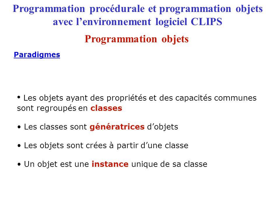 Programmation procédurale et programmation objets avec l'environnement logiciel CLIPS