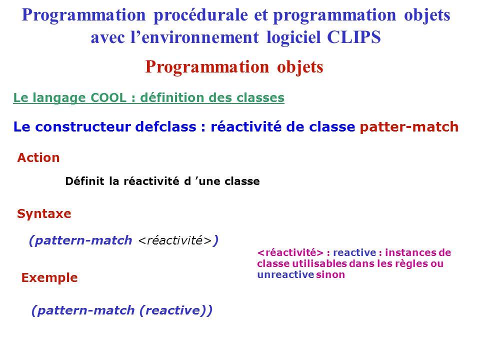 Le langage COOL : définition des classes (pattern-match (reactive))