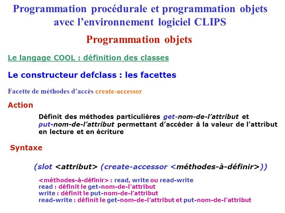 Le langage COOL : définition des classes