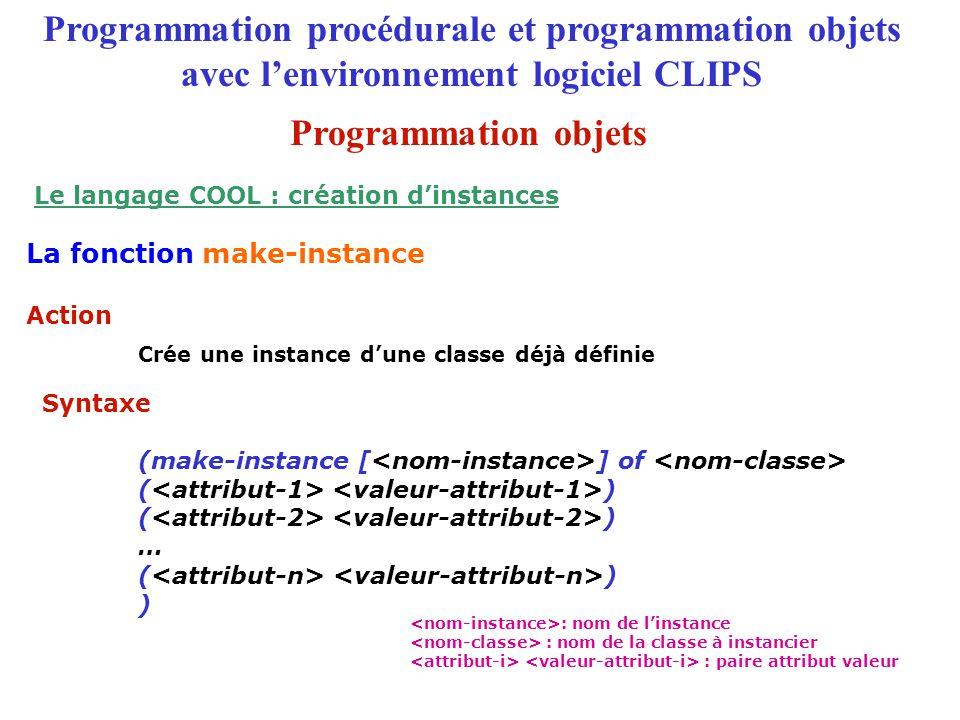 Le langage COOL : création d'instances