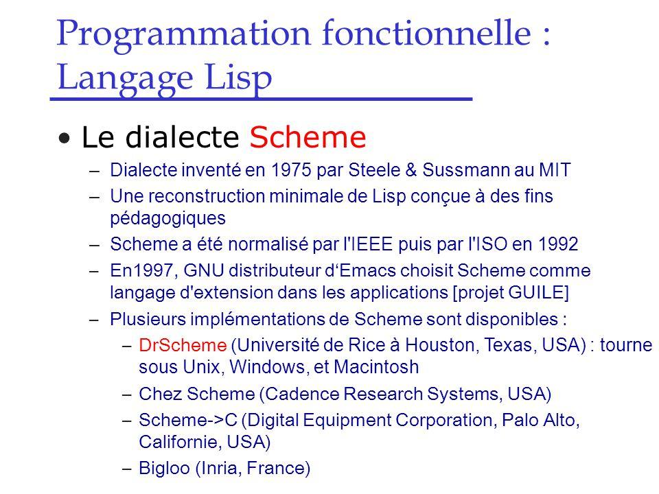 Programmation fonctionnelle : Langage Lisp