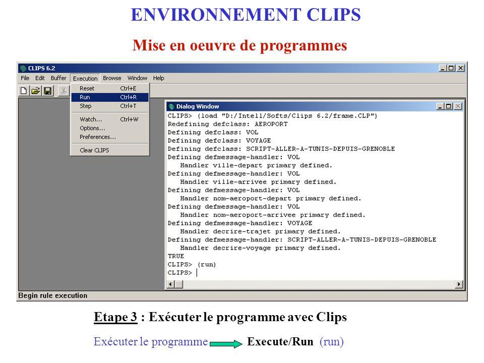 ENVIRONNEMENT CLIPS Mise en oeuvre de programmes