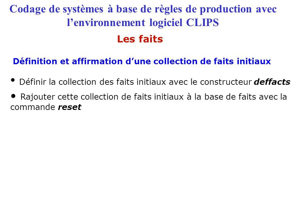 Définir la collection des faits initiaux avec le constructeur deffacts
