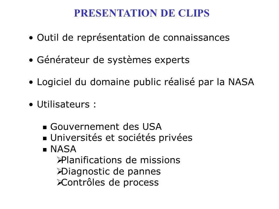PRESENTATION DE CLIPS Outil de représentation de connaissances