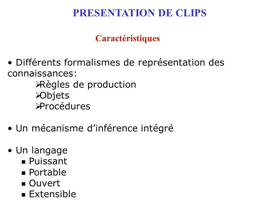 PRESENTATION DE CLIPS Caractéristiques