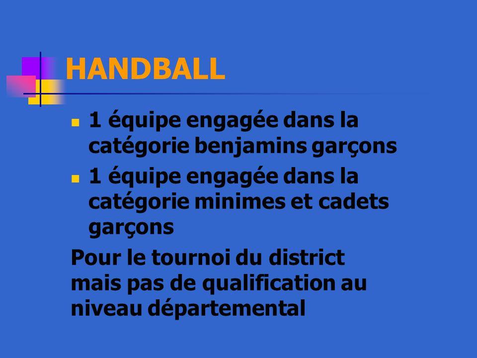 HANDBALL 1 équipe engagée dans la catégorie benjamins garçons