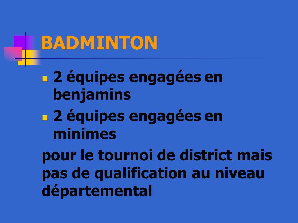 BADMINTON 2 équipes engagées en benjamins