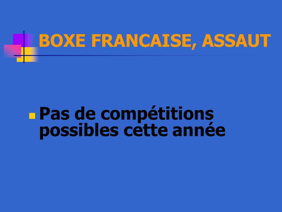 BOXE FRANCAISE, ASSAUT Pas de compétitions possibles cette année