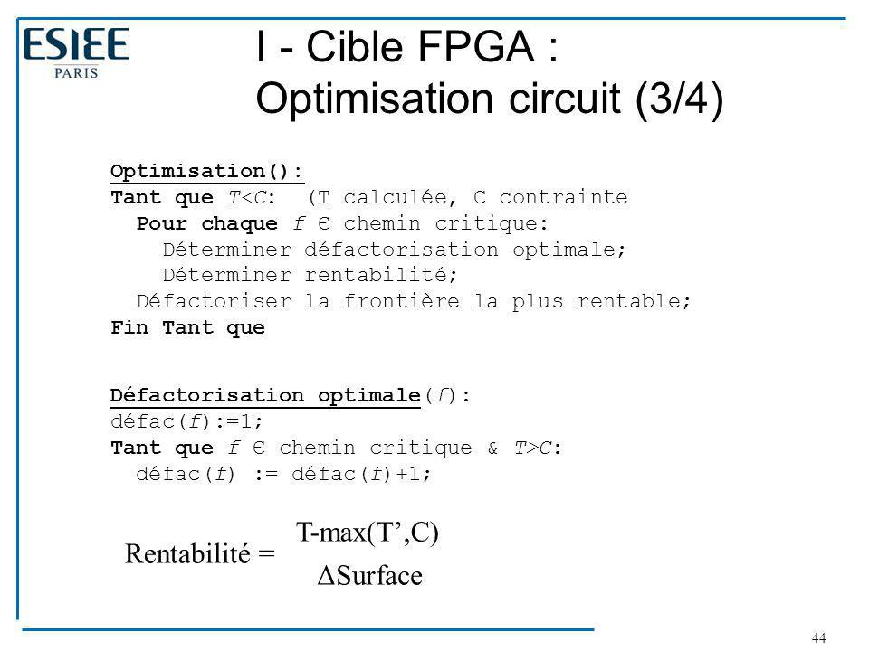 I - Cible FPGA : Optimisation circuit (3/4)