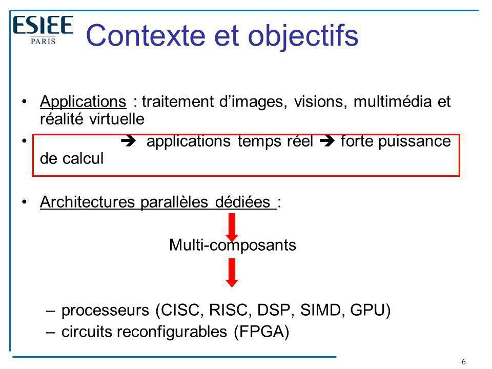 Contexte et objectifs Applications : traitement d'images, visions, multimédia et réalité virtuelle.