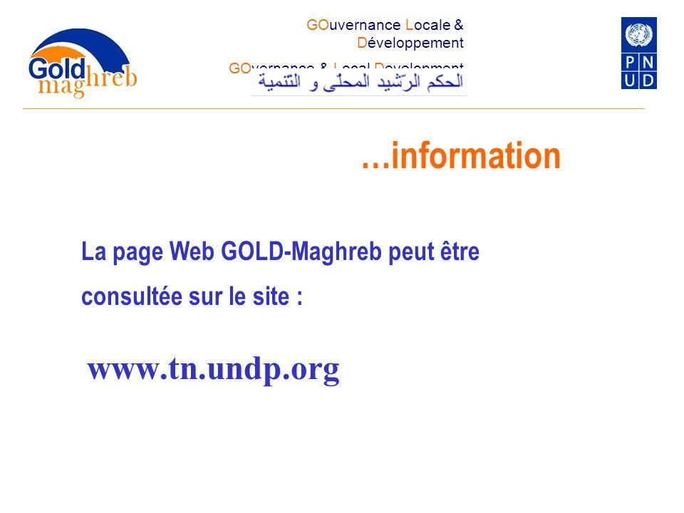 …information www.tn.undp.org La page Web GOLD-Maghreb peut être