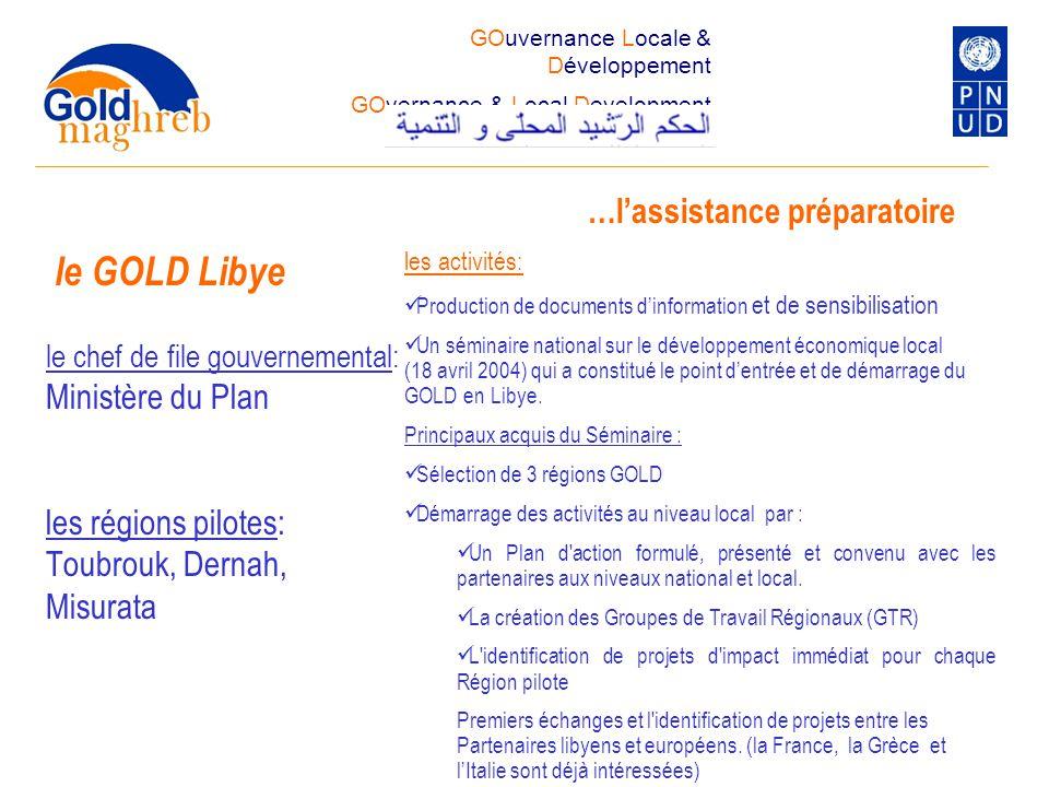 le GOLD Libye …l'assistance préparatoire Ministère du Plan