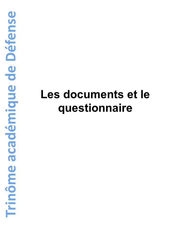 Les documents et le questionnaire Trinôme académique de Défense