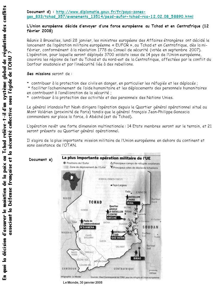 Document d) : http://www. diplomatie. gouv