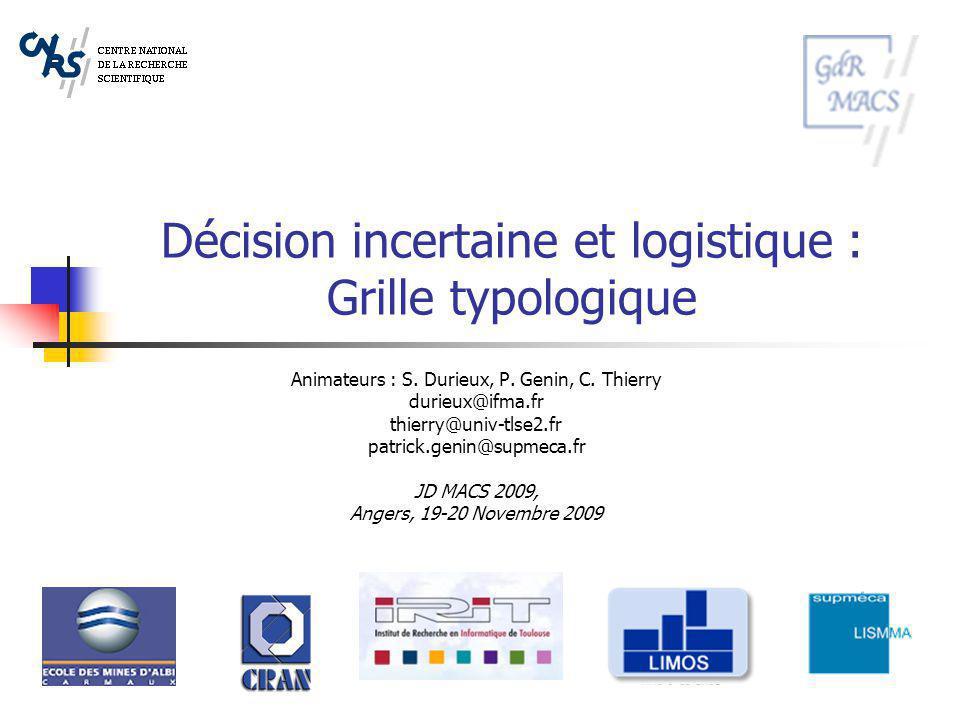 Décision incertaine et logistique : Grille typologique
