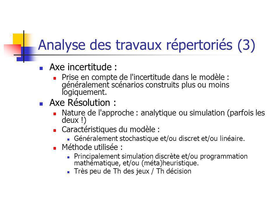 Analyse des travaux répertoriés (3)