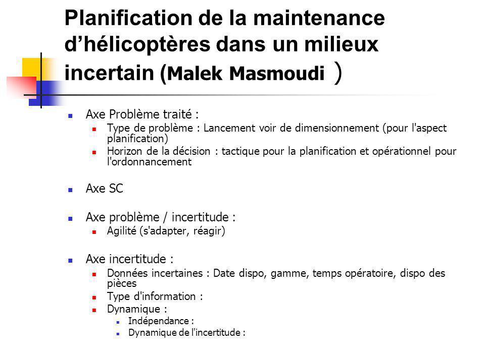 Planification de la maintenance d'hélicoptères dans un milieux incertain (Malek Masmoudi )