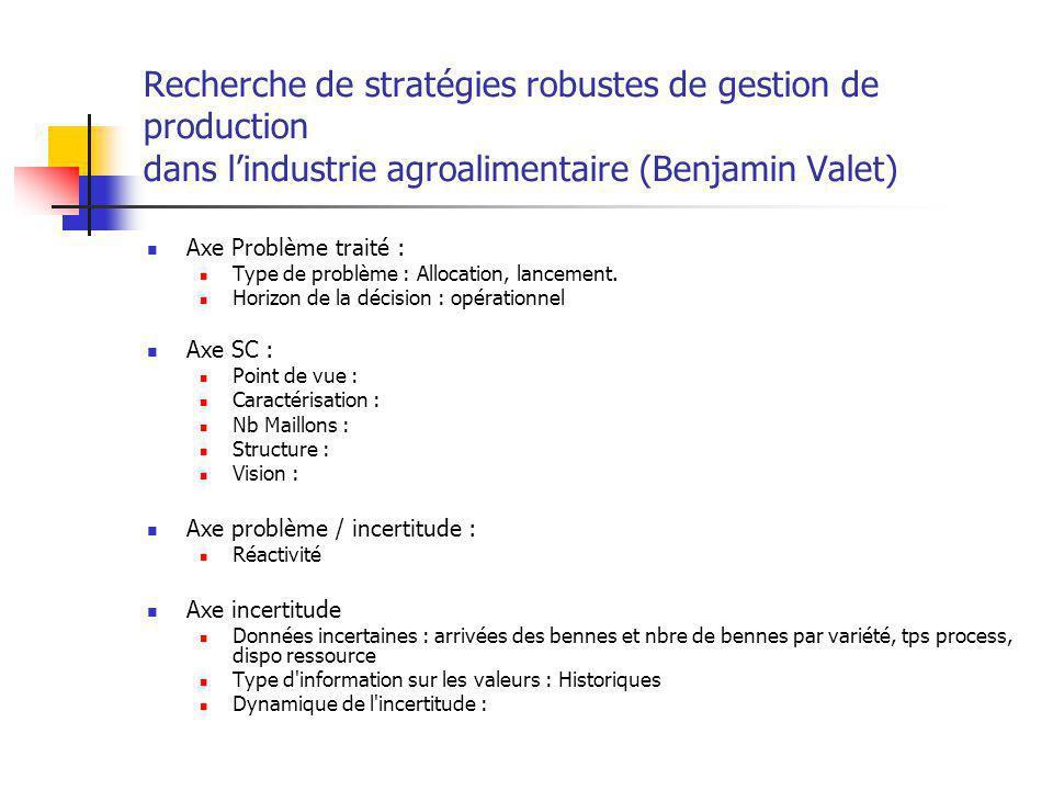 Recherche de stratégies robustes de gestion de production dans l'industrie agroalimentaire (Benjamin Valet)