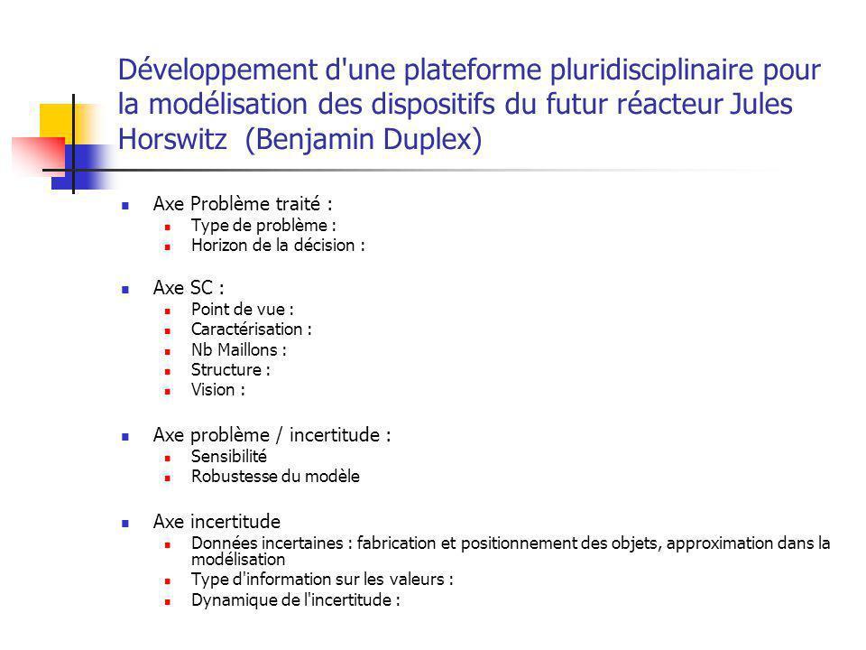 Développement d une plateforme pluridisciplinaire pour la modélisation des dispositifs du futur réacteur Jules Horswitz (Benjamin Duplex)