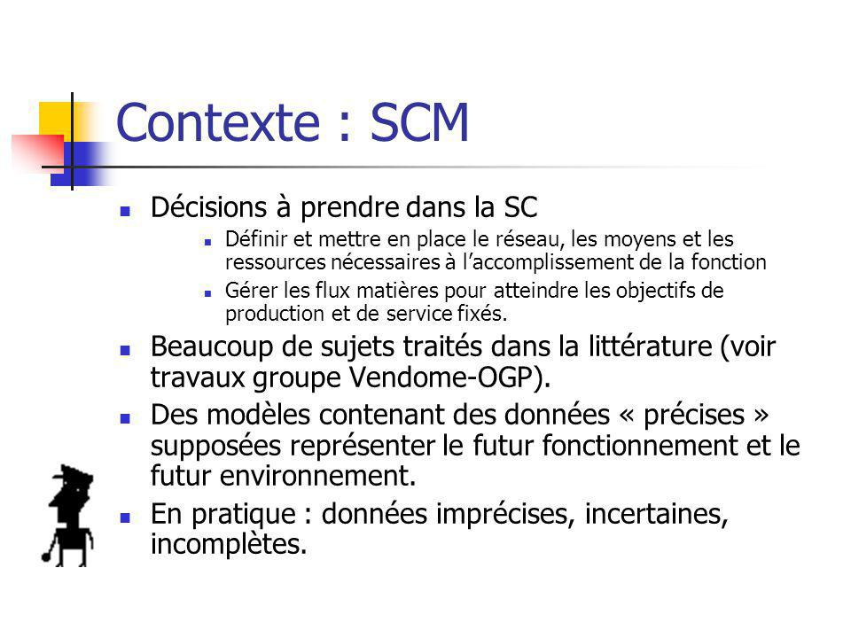 Contexte : SCM Décisions à prendre dans la SC