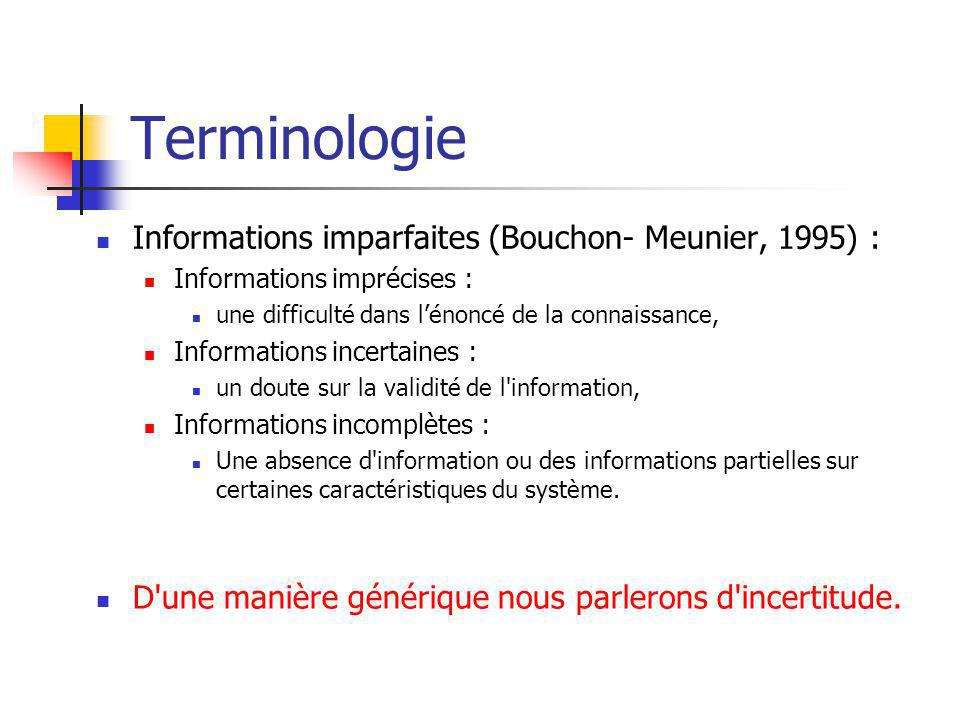 Terminologie Informations imparfaites (Bouchon- Meunier, 1995) :