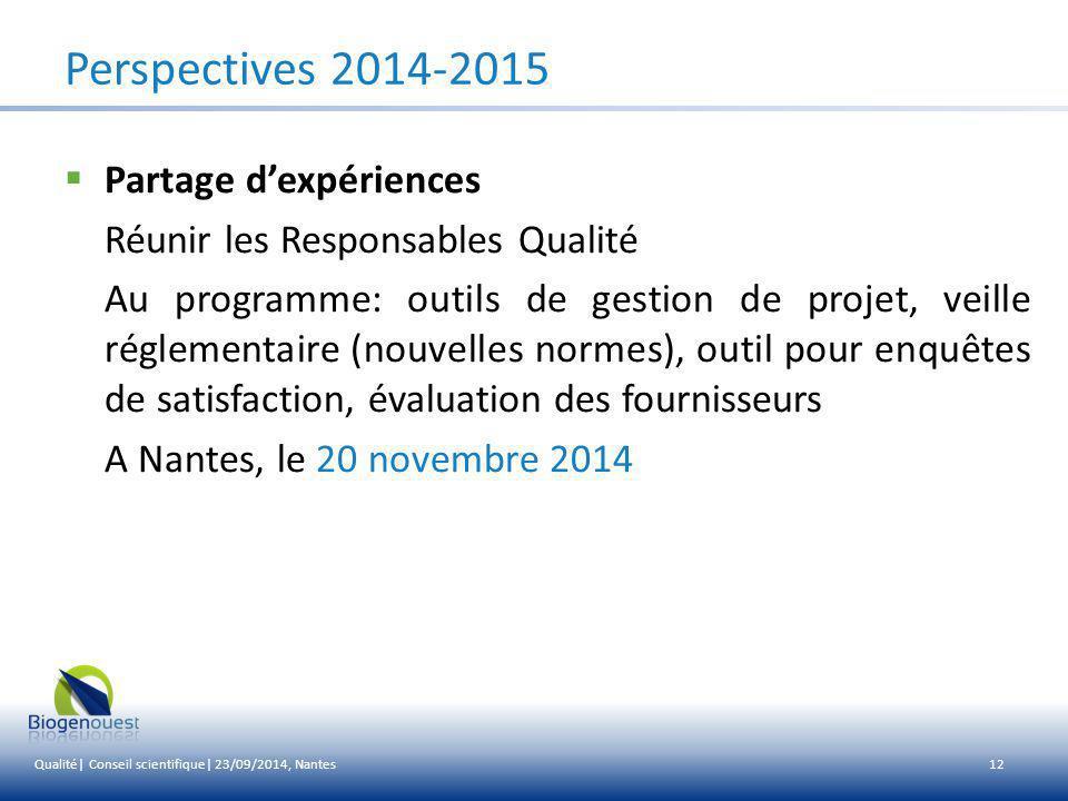Perspectives 2014-2015 Partage d'expériences
