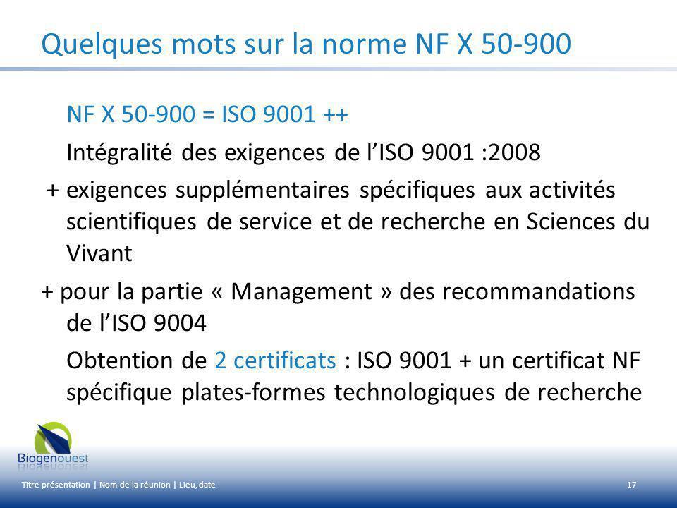 Quelques mots sur la norme NF X 50-900