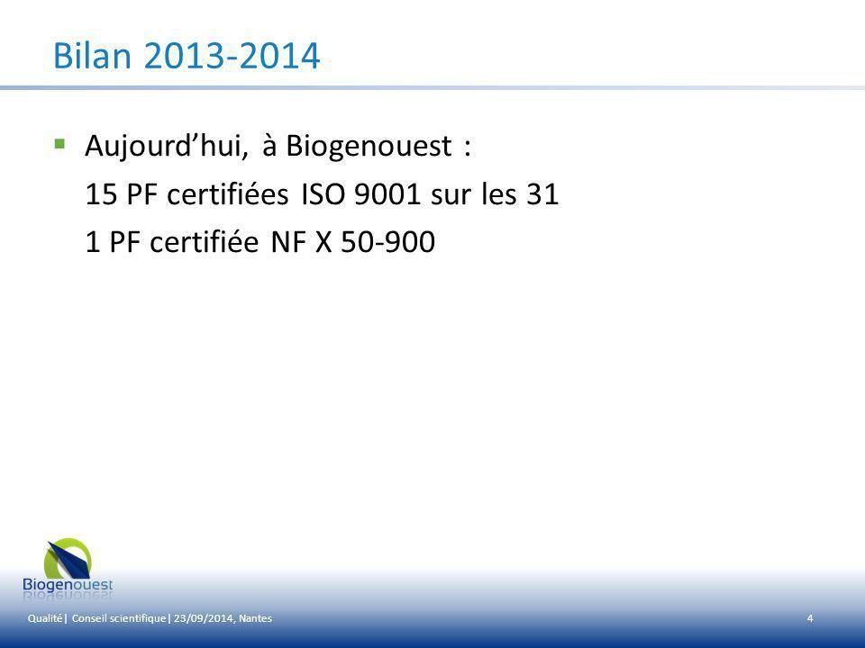 Bilan 2013-2014 Aujourd'hui, à Biogenouest :