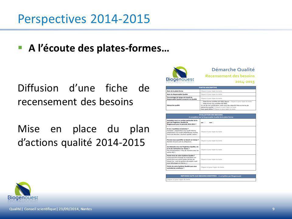 Perspectives 2014-2015 A l'écoute des plates-formes…