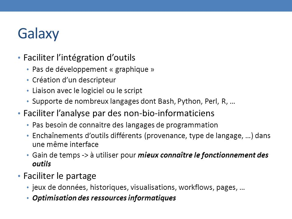 Galaxy Faciliter l'intégration d'outils