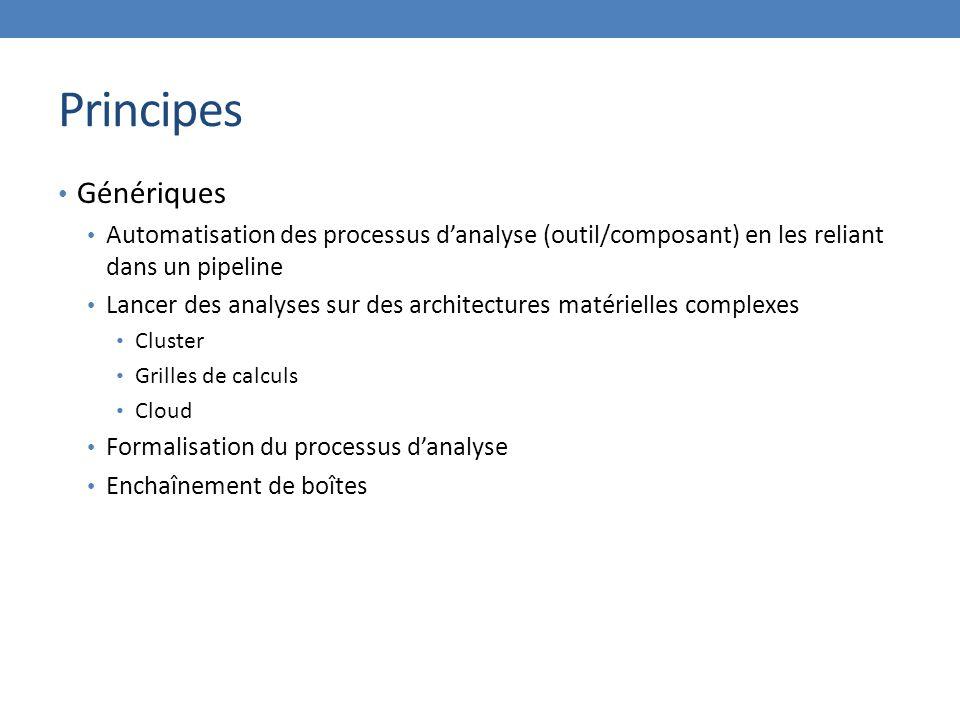 Principes Génériques. Automatisation des processus d'analyse (outil/composant) en les reliant dans un pipeline.