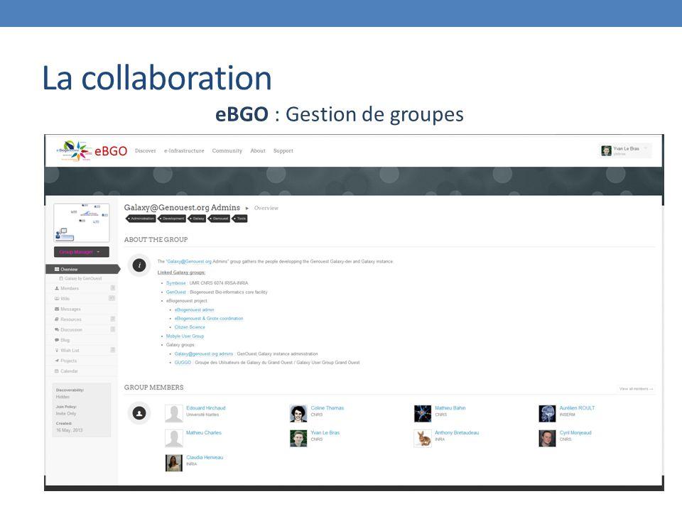 eBGO : Gestion de groupes