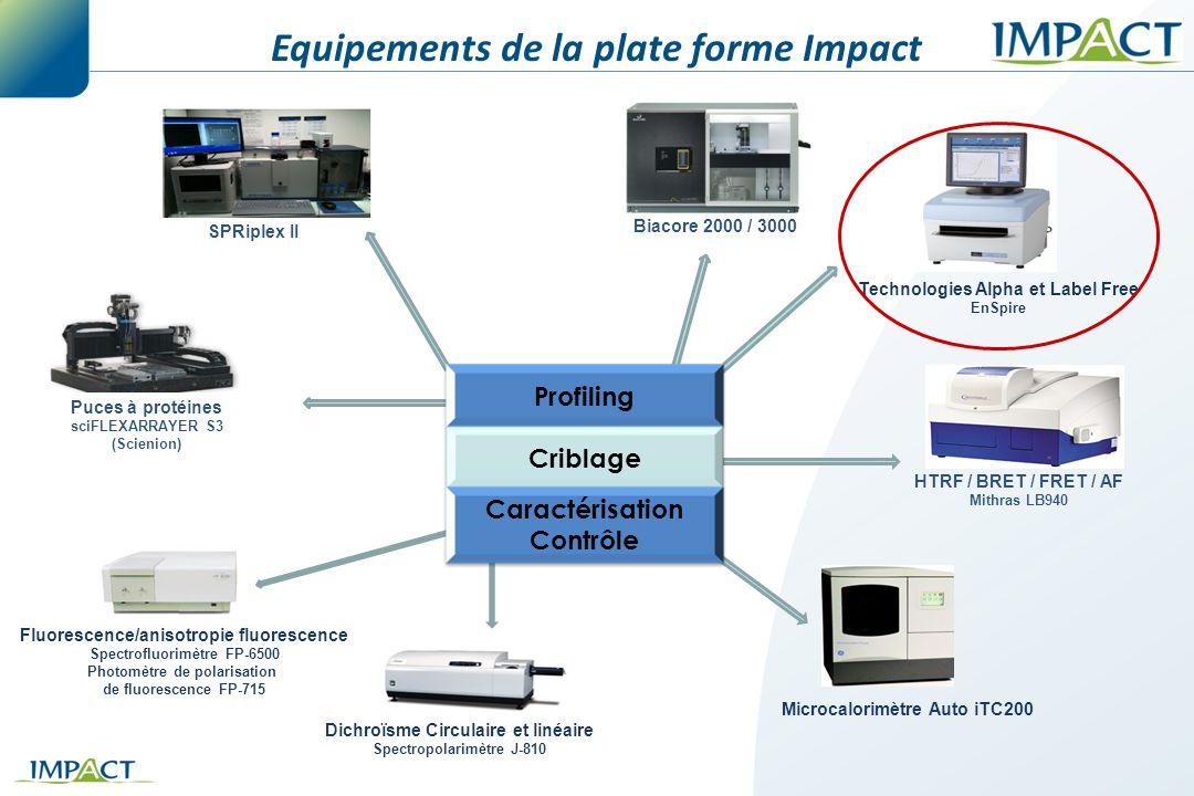 Equipements de la plate forme Impact Technologies Alpha et Label Free