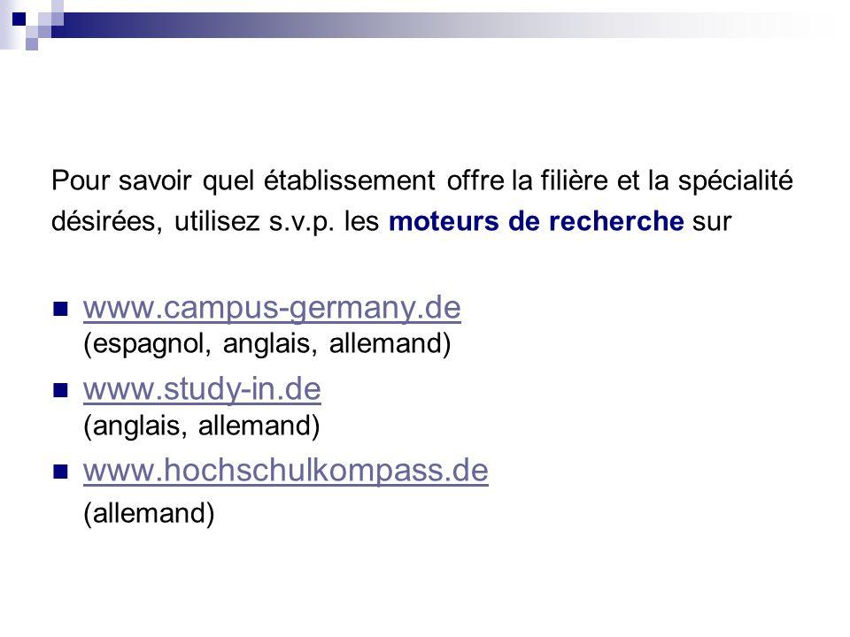 www.campus-germany.de (espagnol, anglais, allemand)