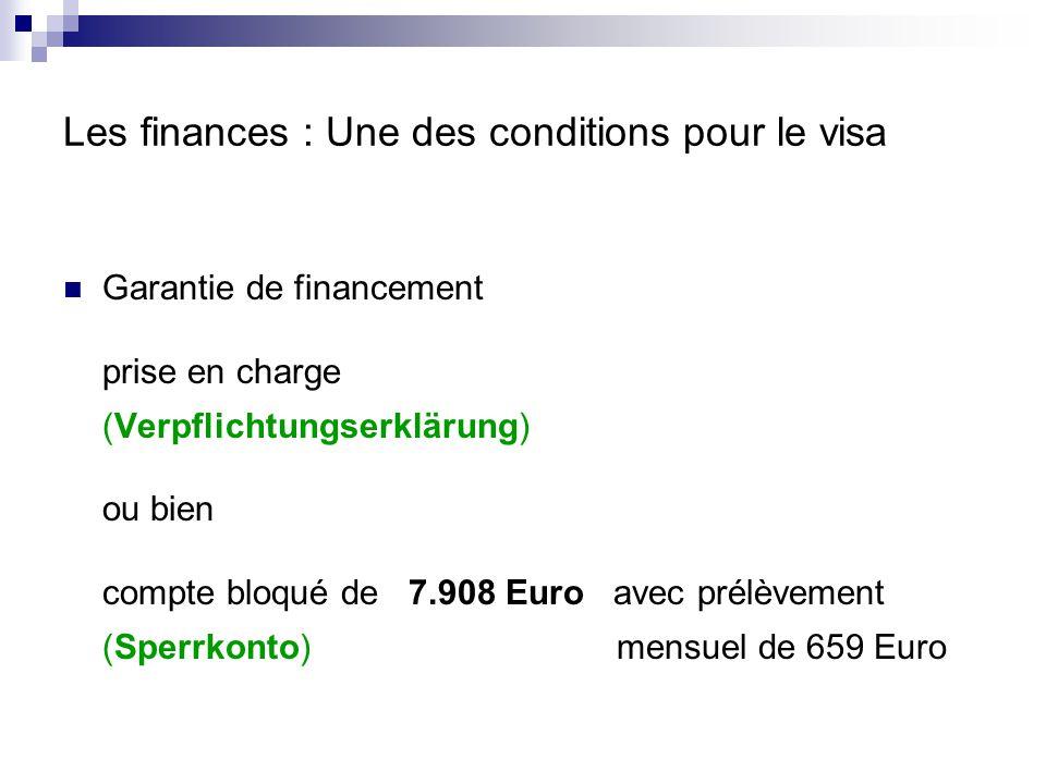 Les finances : Une des conditions pour le visa