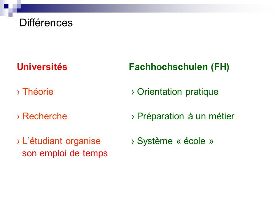 Différences Universités Fachhochschulen (FH)