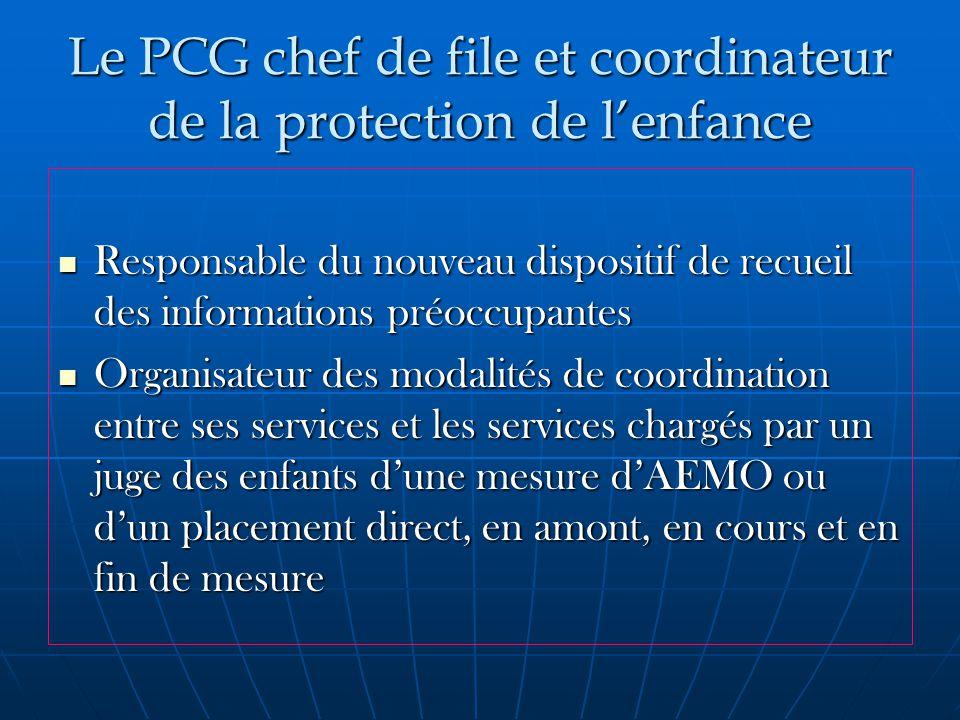 Le PCG chef de file et coordinateur de la protection de l'enfance