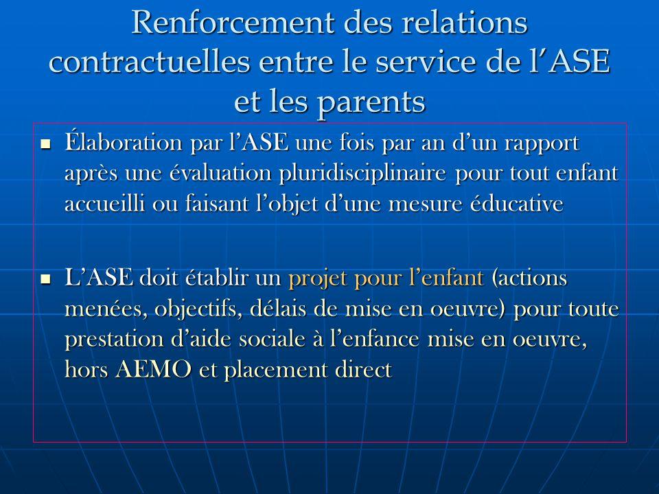 Renforcement des relations contractuelles entre le service de l'ASE et les parents