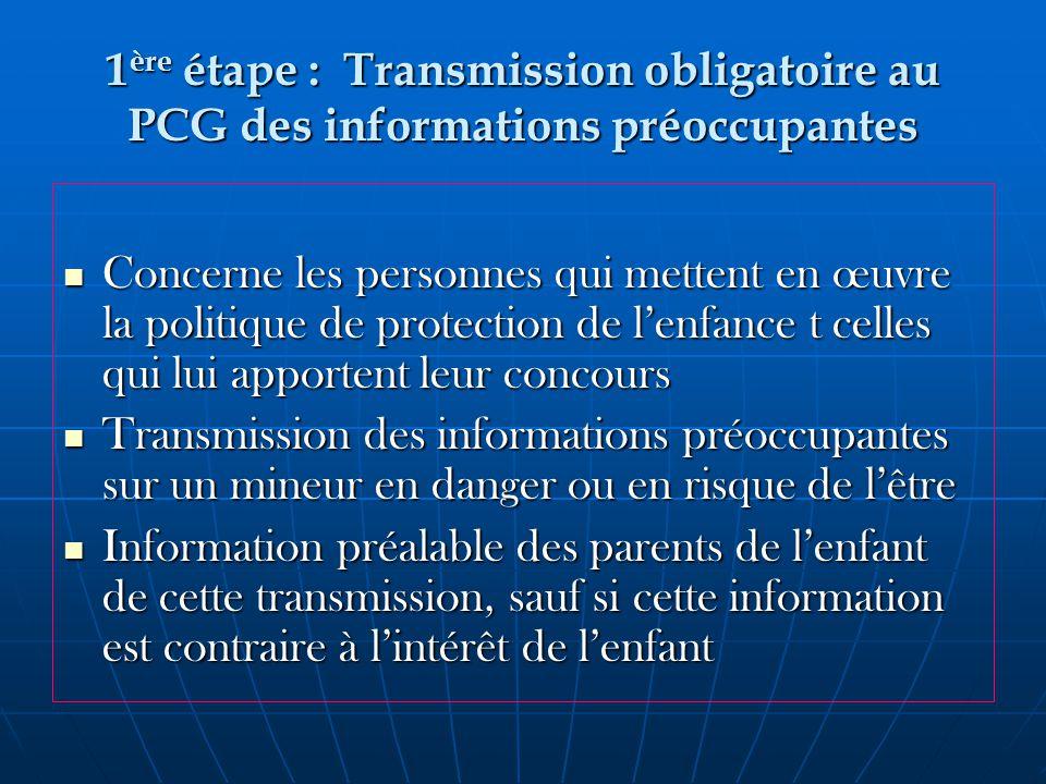 1ère étape : Transmission obligatoire au PCG des informations préoccupantes
