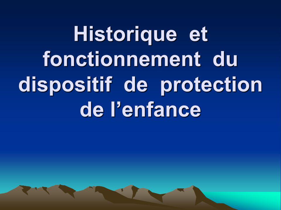 Historique et fonctionnement du dispositif de protection de l'enfance