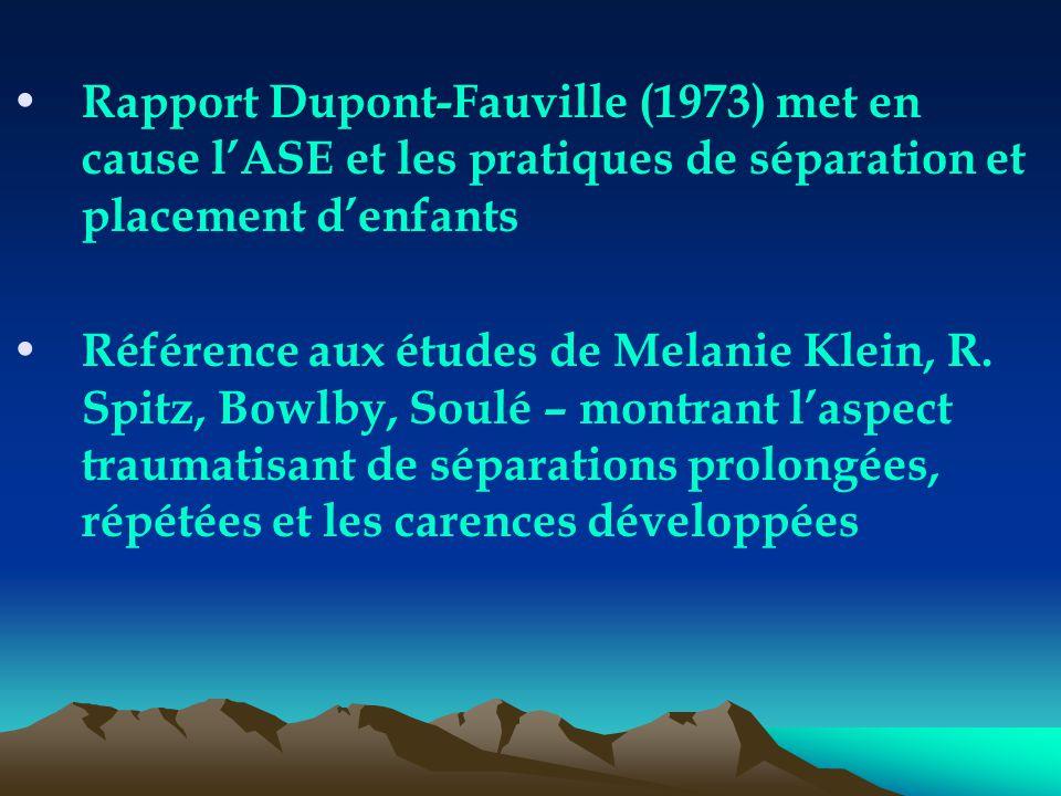 Rapport Dupont-Fauville (1973) met en cause l'ASE et les pratiques de séparation et placement d'enfants