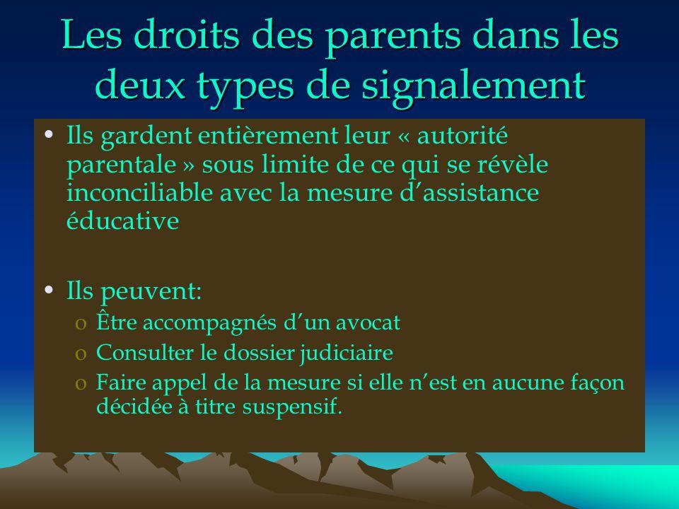 Les droits des parents dans les deux types de signalement