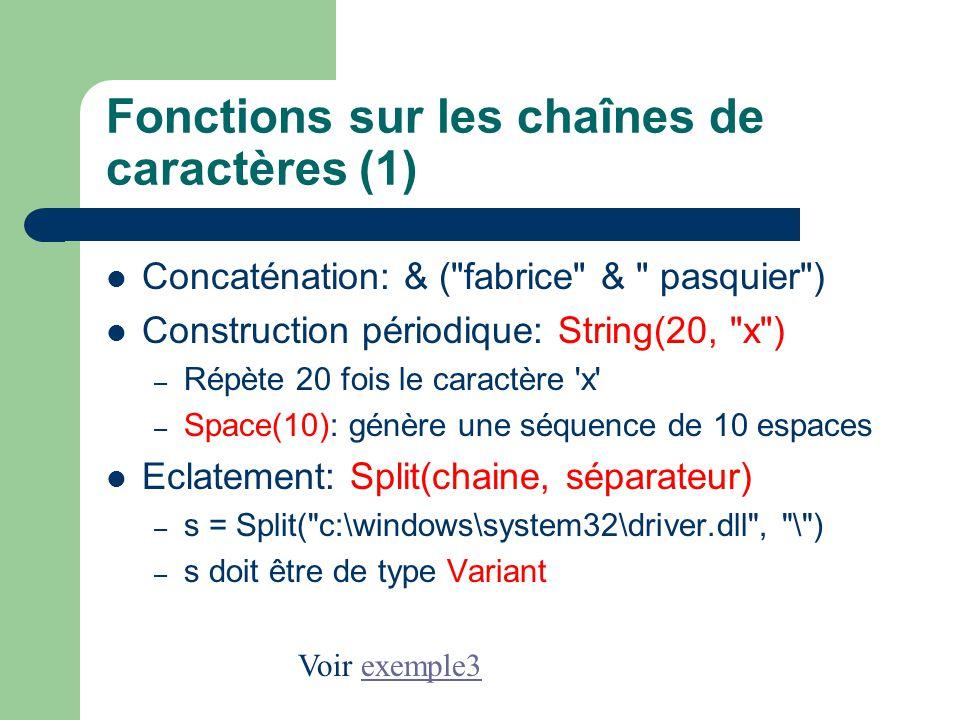 Fonctions sur les chaînes de caractères (1)