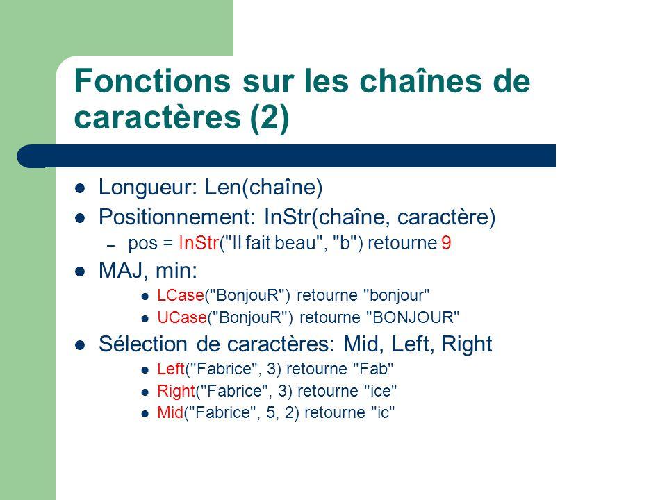 Fonctions sur les chaînes de caractères (2)