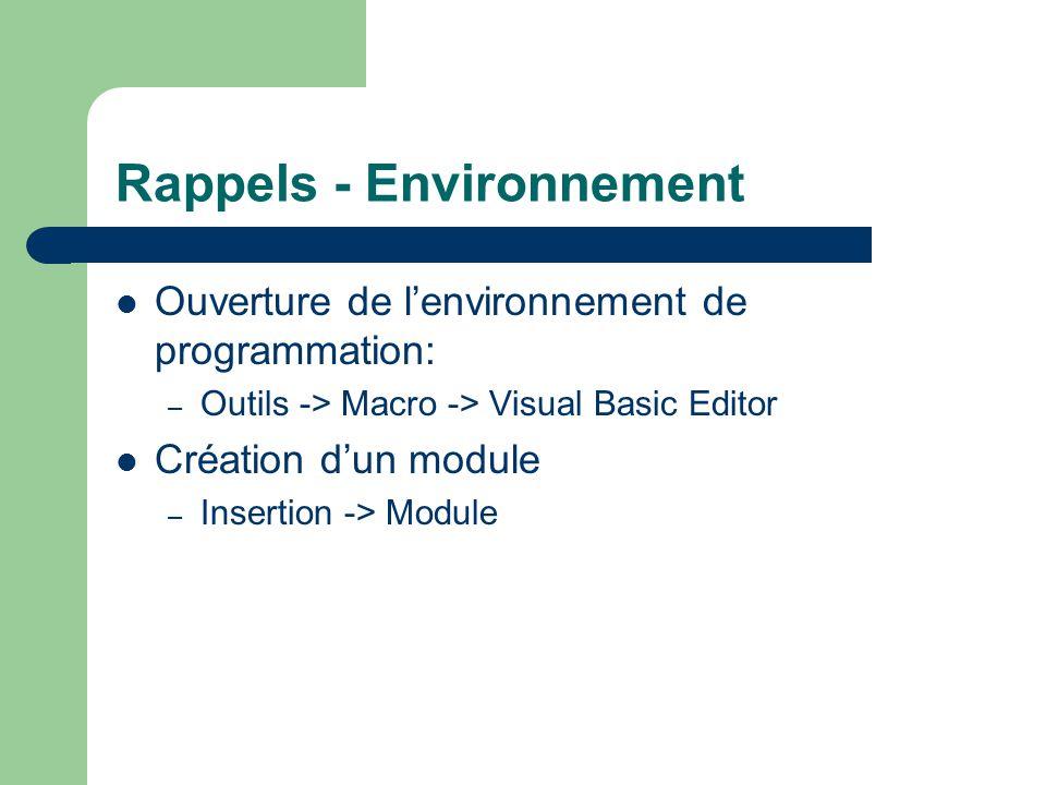 Rappels - Environnement