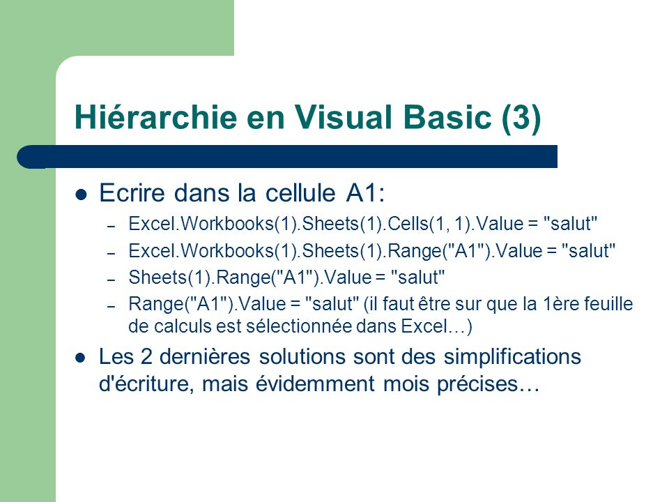 Hiérarchie en Visual Basic (3)