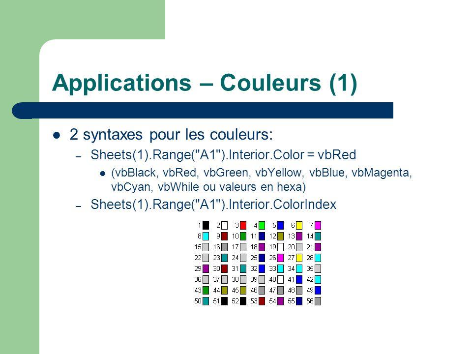 Applications – Couleurs (1)