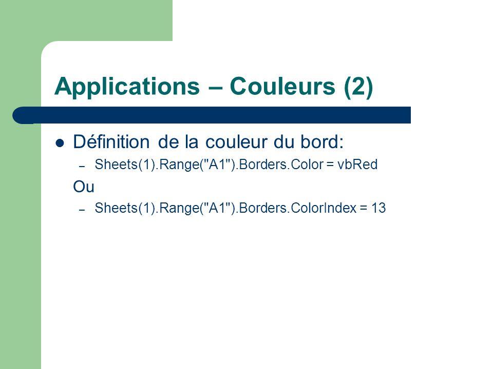 Applications – Couleurs (2)
