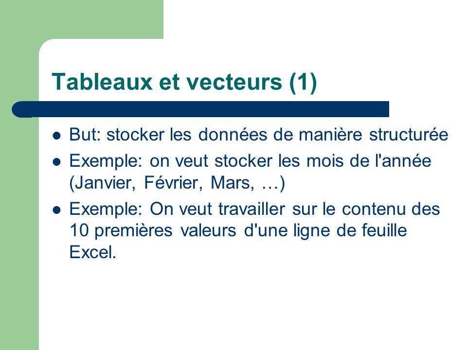 Tableaux et vecteurs (1)