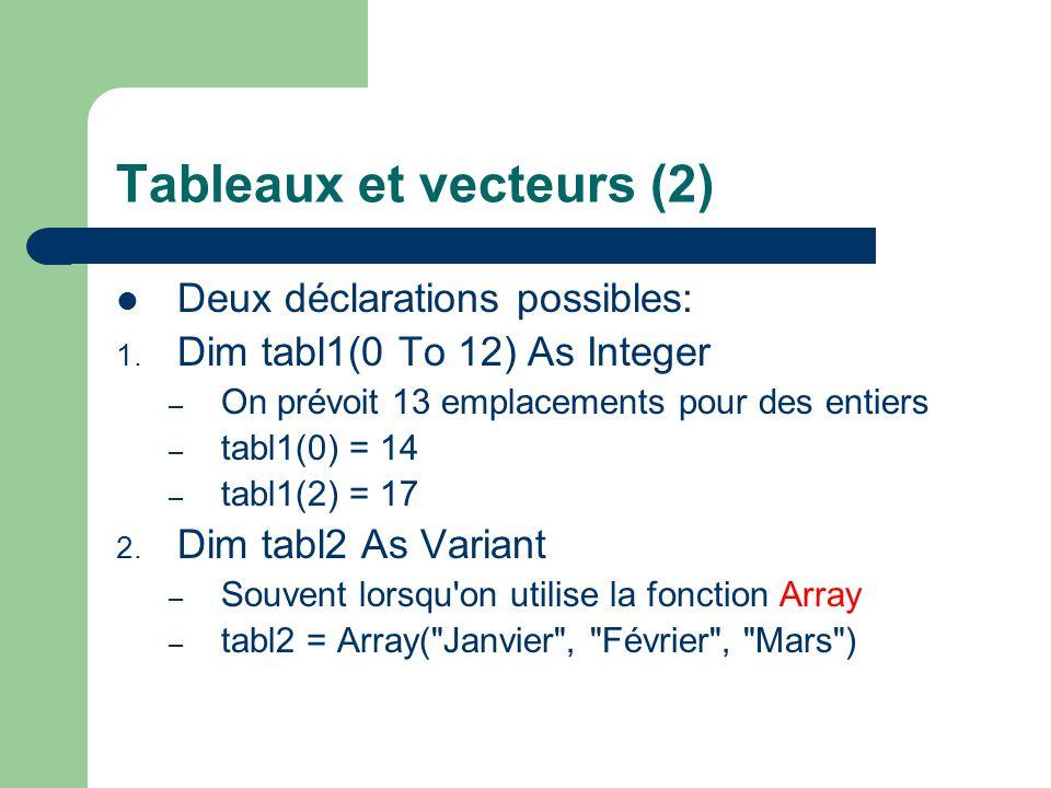 Tableaux et vecteurs (2)